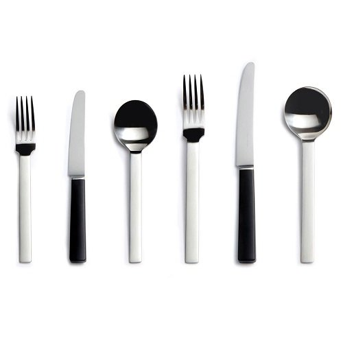 Odeon stainless steel cutlery with black handle knives, David Mellor