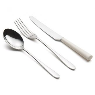 Pride cutlery with white handle knife, David Mellor