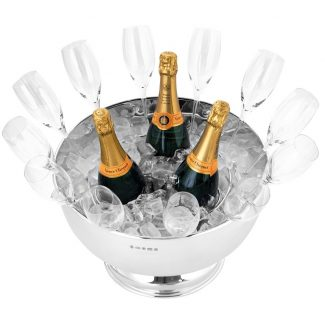 Sterling Silver Champagne Bowl, pictured with Veuve Clicquot Champagne, Carrs of Sheffield