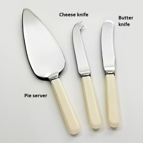 Cream Handled Pie Server, Cheese Knife, Butter Knife