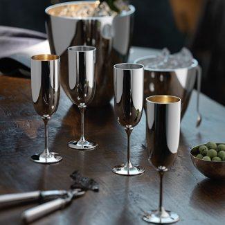 Dante Bar Kollektion Silver Champagne Flutes - Robbe & Berking