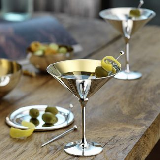 Dante Bar Kollektion Silver Cocktail Glasses with gold inside - Robbe & Berking